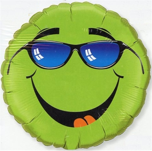 Green Smiley with Sunglasses Balloon